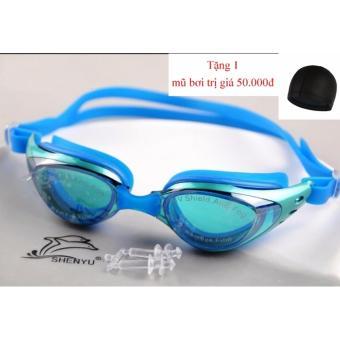 Kinh bơi Shenyu tráng bạc chống tia UV tặng kèm mũ bơi_Xanh da trời