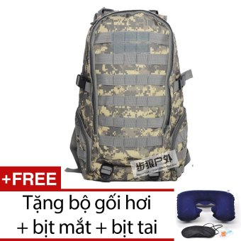 Balo du lịch lính quân sự chống nước seonhi BLQS2 (Màu ACU) + Tặng bộ 1 gối hơi + 1 bịt mắt + 1 cặp bịt tai