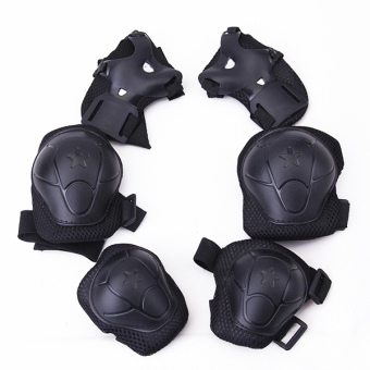 Children Cycling Roller Skating Knee Elbow Wrist Protective Pads Black - intl
