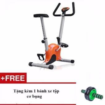 Xe đạp tập thể dục tại nhà + Tặng kèm 1 bánh xe tập cơ bụng