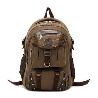 KAUKKO Large Capacity Canvas Casual Laptop Bag Backpack Hiking Camping (Intl)