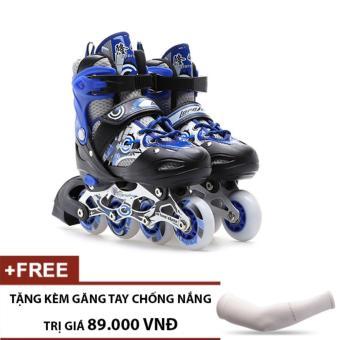 Giày Trượt Patin Trẻ Em Long Feng 906 (Xanh Đen) - Tặng kèm găng tay chống nắng