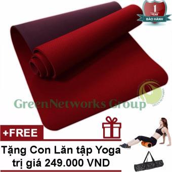 Thảm tập Yoga TPE cao cấp Zera GnG 6mm 2 lớp có túi đựng + Tặng con lăn yoga