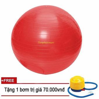Bóng tập Yoga+ Kèm bộ dụng cụ bơm hơi TPS Trơn 65CM (Đỏ)