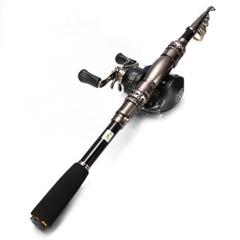 Teamtop 6 Section Telescopic Carbon Spinning Fishing Rod -1.8M (Not Included Reel) - Intl