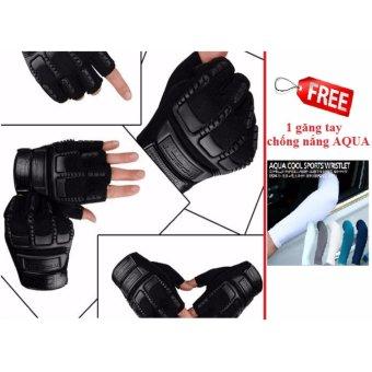 Găng tay hở ngón thể thao (Đen) + Tặng đôi găng tay chống nắng AQUA