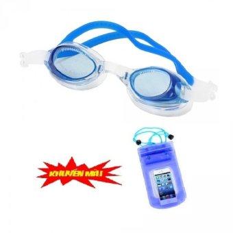 Kính bơi trẻ em Silicon+ Bịt tai (Xanh)Tặng kèm túi đựng điện thoại trống thấm nước
