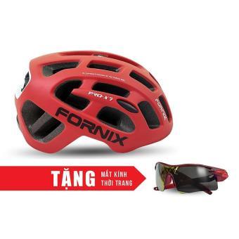 Nón bảo hộ cho người đi xe đạp FORNIX A02NX7 (Đỏ) + Tặng Mắt kính thời trang