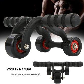 Dụng cụ tập cơ bụng đa năng 3 bánh (Đen) +Tặng bộ đôi Găng tay tập thể dục