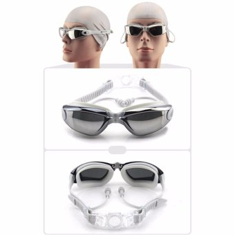 Original M609AMR FEIUPE Anti-fog anti-uv Swim Sportswear Swimming Goggles glasses Women Men Adult Swimwear Waterproof Eyewear silver grey - intl