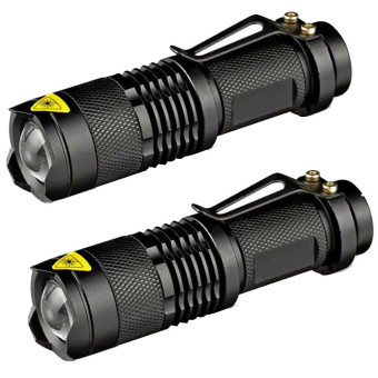 2PC Mini CREE Q5 LED Flashlight Torch 7W 1200LM Adjustable Focus Zoom Light Lamp Black