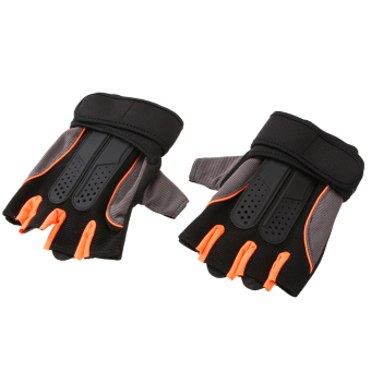 Weight Lifting Gym Fitness Workout Training Exercise Half Gloves(Orange)(L) - intl