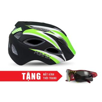 Nón bảo hộ cho người đi xe đạp FORNIX H016-M (Đen xanh lá) + Tặng Mắt kính thời trang