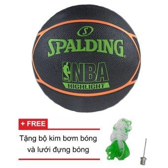 Quả bóng rổ Spalding NBA Highlight Series Outdoor Size 7 (Ngoài trời) + Tặng bộ kim bơm bóng và lưới đựng bóng
