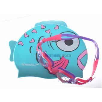 Bộ kính bơi mũ bơi Speedo Sea Aquad trẻ em 2 -6 tuổi (Hồng pha tím)