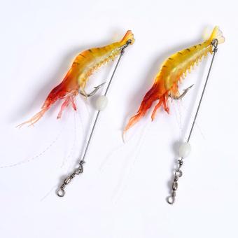 LEO Shrimp Shape Fishing Lure Set Hooks Soft (red) - intl