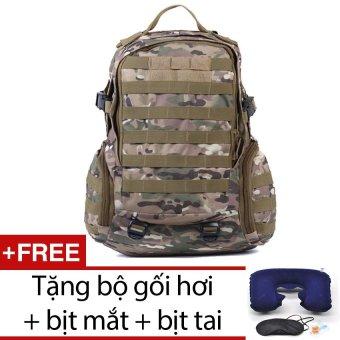 Balo du lịch lính quân sự chống nước seonhi BLQS2 (Xanh phối trắng) + Tặng bộ 1 gối hơi + 1 bịt mắt + 1 cặp bịt tai