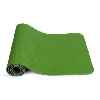 Thảm Yoga cao cấp 2 lớp 2 màu dầy 6ly (Xanh lá phối ghi)