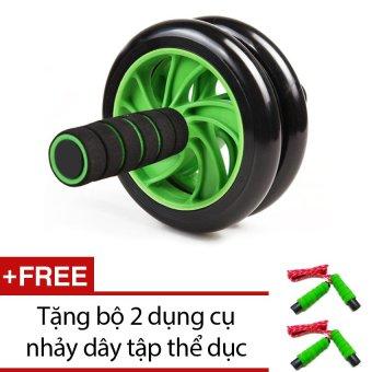 Bánh xe lăn tập bụng và ngực Double Wheel KA05 (xanh) + Tặng bộ 2 dụng cụ nhảy dây tập thể dục