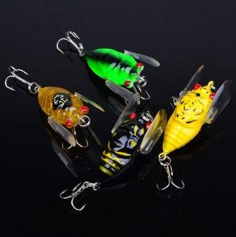 Lot 8pcs Plastic Popper Fishing Lures Bass Crank Baits Cicada Tackle- - intl