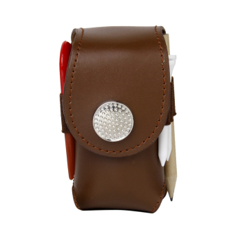 Mini Portable Leather Clip On Golf Ball Holder Pouch Bag Hold 2 Balls Golfer Aid Tool Gift Brown - intl