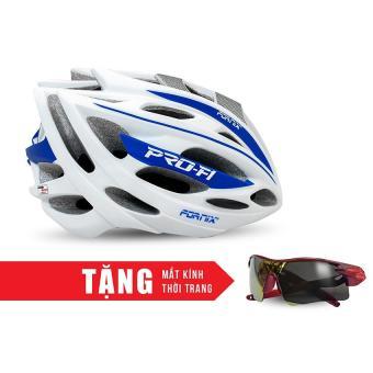 Nón bảo hộ cho người đi xe đạp FORNIX A02N050L (Trắng xanh) + Tặng Mắt kính thời trang