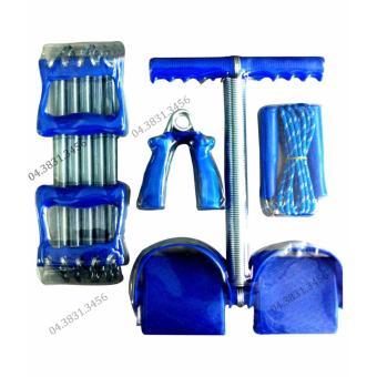 Bộ 4 món dụng cụ tập thể dục đa năng Tummy kèm lò xo tập tay (Xanh)