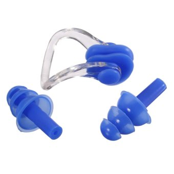 Swimming Nose Clip Silicone Ear Plug (Blue) (Intl)