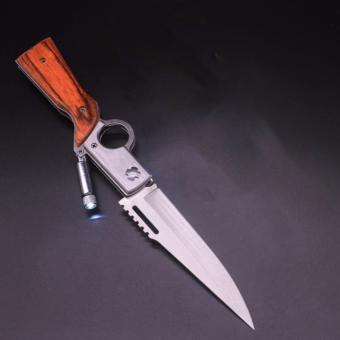 Dao gấp dành cho dân phượt hình súng vân gỗ(trắng inox) loại dài size 25cm có đèn Led chiếu sáng + free 01 túi đựng
