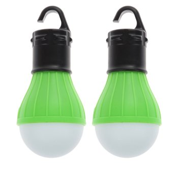 2 x Outdoor Hanging 3 Camping Tent Light Bulb Fishing Lamp(Green) - INTL