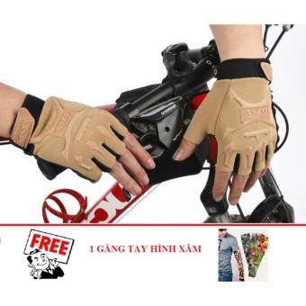 Găng tay nam hở ngón kiểu lính (Vàng cát) + Tặng 1 găng tay chống nắng hình xăm