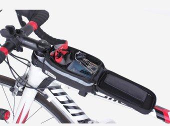 Túi trên sườn xe đạp có dải phát quang kiêm chống sóc và cửa sổ cảm ứng cho điện thoại H77 (ĐEN)