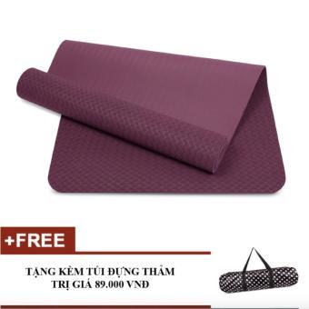 Thảm tập yoga TPE 8mm cao cấp kèm túi (Tím)
