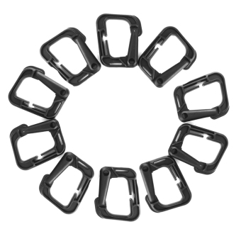 10 x Outdoor Carabiner Snap Clip Hook Holder Camping Hiking - Black - Intl