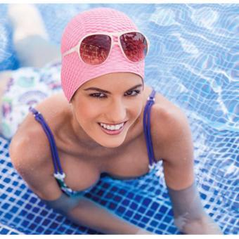 Nón bơi nữ Fashy họa tiết giọt nước (Màu hồng)