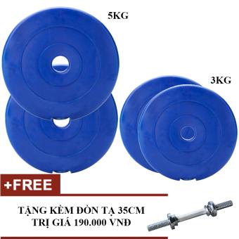 Bộ tạ miếng nhựa 3kg, 5kg - mỗi loại 2 miếng (Tặng đòn 35cm)