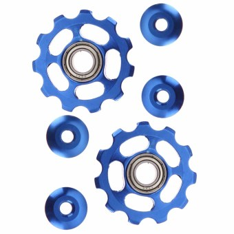 2pcs 11T Bike Aluminum Alloy Bearing Jockey Wheel Rear Derailleur(Blue) - intl