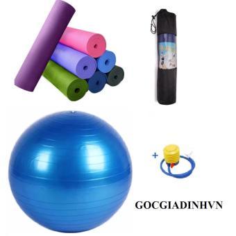 Bộ thảm yoga 6mm có túi+ Bóng tập trơn kèm bơm tay GocgiadinhVN-Xanh