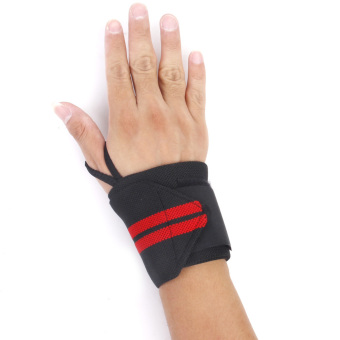 Weight Lifting Wrist Wraps Bandage Hand Support Gym Training Strap Black Red - Intl