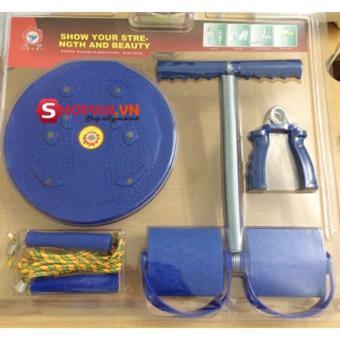 Bộ 4 món dụng cụ tập thể dục đa năng Tummy và đĩa xoay eo (Xanh)