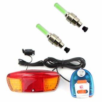 Bộ còi và đèn tín hiệu xe đạp XC-604 và 2 đèn Led gắn van xe (xanh lá)