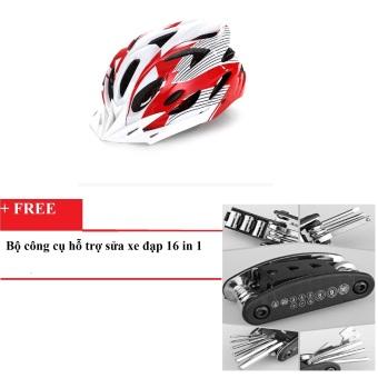 Mũ bảo hiểm cho xe đạp HQ101 (Đỏ phối trắng) + Tặng Bộ công cụ hỗ trợ sửa xe đạp 16 in 1(Đen)