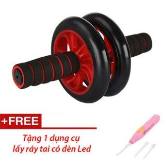 Con lăn tập cơ bụng AB Wheel (Đỏ) + Thảm tập + Tặng dụng cụ lấy ráy tai
