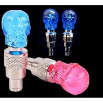 Bộ 2 đèn led gắn van xe hình đầu lâu (Xanh ngọc)