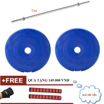 Đòn tạ thẳng 1m + 2 tạ miếng nhựa 10kg (Tặng găng tạ + bộ 2 ống mút gắn đòn)