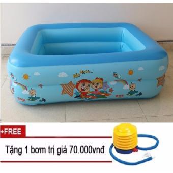 Bể bơi phao 2 tầng 125x90x35cm(xanh dương)Tăng+kèm bơm hơi tay