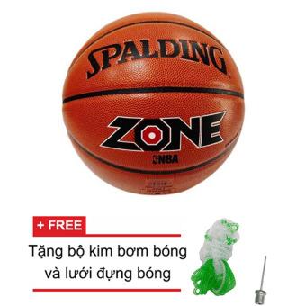 Quả bóng rổ Spalding NBA Zone All Surface Indoor/Outdoor Size 7 + Tặng bộ kim bơm bóng và lưới đựng bóng