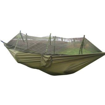 Portable Camping Outdoor Hammock Nylon + Mosquito Net (Army Green) - intl