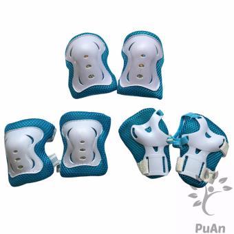 Bộ 6 miếng bảo vệ tay, chân cho bé (Xanh Trắng)