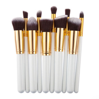 10Pcs Pro Cosmetic Makeup Tool Brush Brushes Set (White and Golden) - Intl